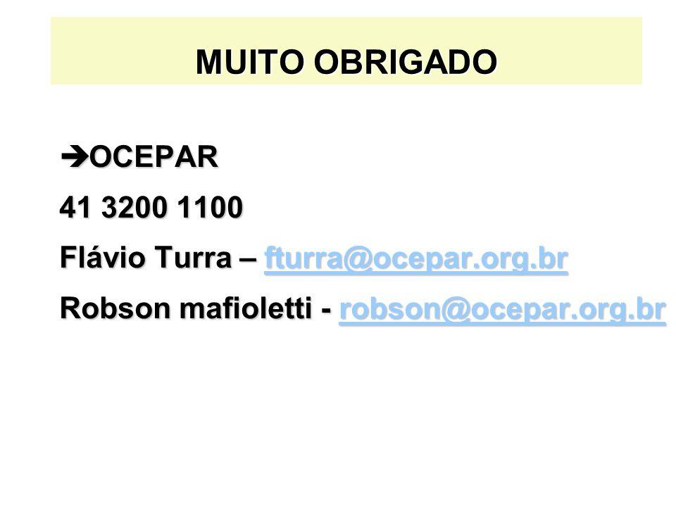 MUITO OBRIGADO OCEPAR 41 3200 1100 Flávio Turra – fturra@ocepar.org.br