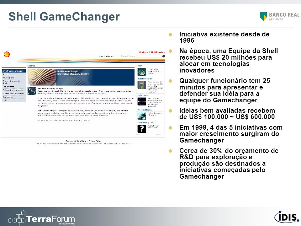 Shell GameChanger Iniciativa existente desde de 1996