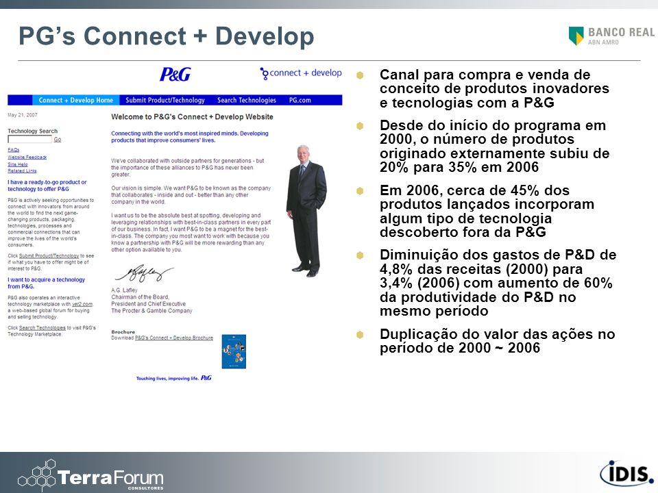 PG's Connect + Develop Canal para compra e venda de conceito de produtos inovadores e tecnologias com a P&G.
