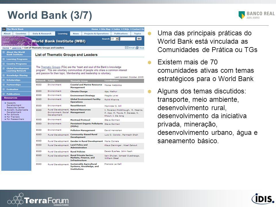 World Bank (3/7) Uma das principais práticas do World Bank está vinculada as Comunidades de Prática ou TGs.