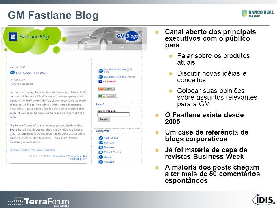 GM Fastlane Blog Canal aberto dos principais executivos com o público para: Falar sobre os produtos atuais.