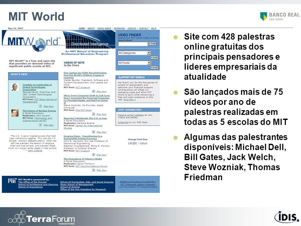 MIT World Site com 428 palestras online gratuitas dos principais pensadores e lideres empresariais da atualidade.