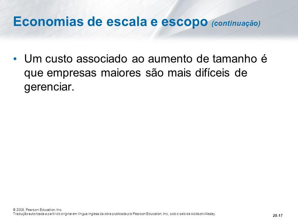 Economias de escala e escopo (continuação)