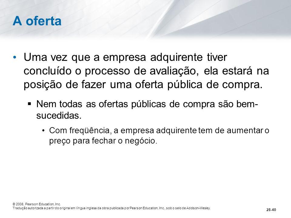 A oferta Uma vez que a empresa adquirente tiver concluído o processo de avaliação, ela estará na posição de fazer uma oferta pública de compra.