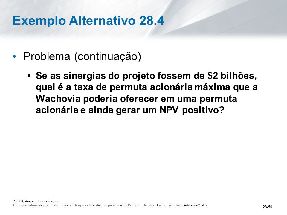 Exemplo Alternativo 28.4 Problema (continuação)