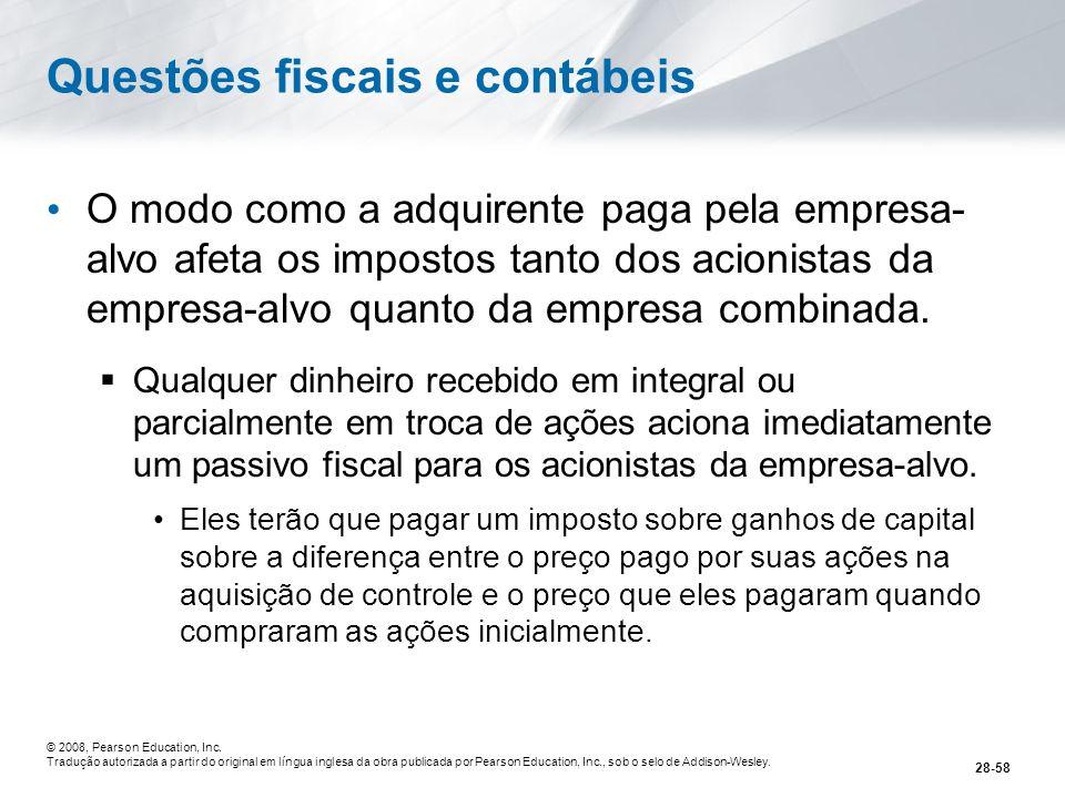 Questões fiscais e contábeis