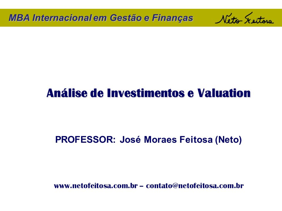 Análise de Investimentos e Valuation