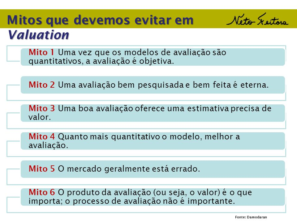 Mitos que devemos evitar em Valuation