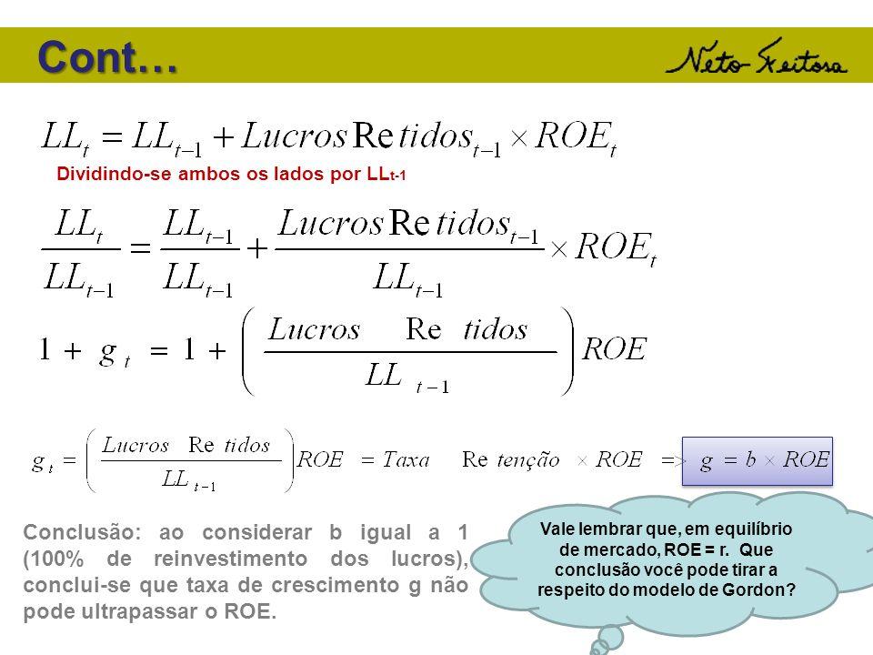 Cont…Dividindo-se ambos os lados por LLt-1.