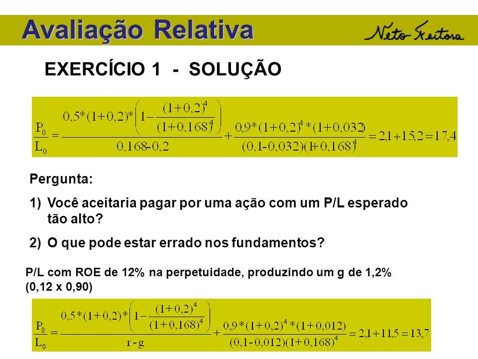 Avaliação Relativa EXERCÍCIO 1 - SOLUÇÃO Pergunta: