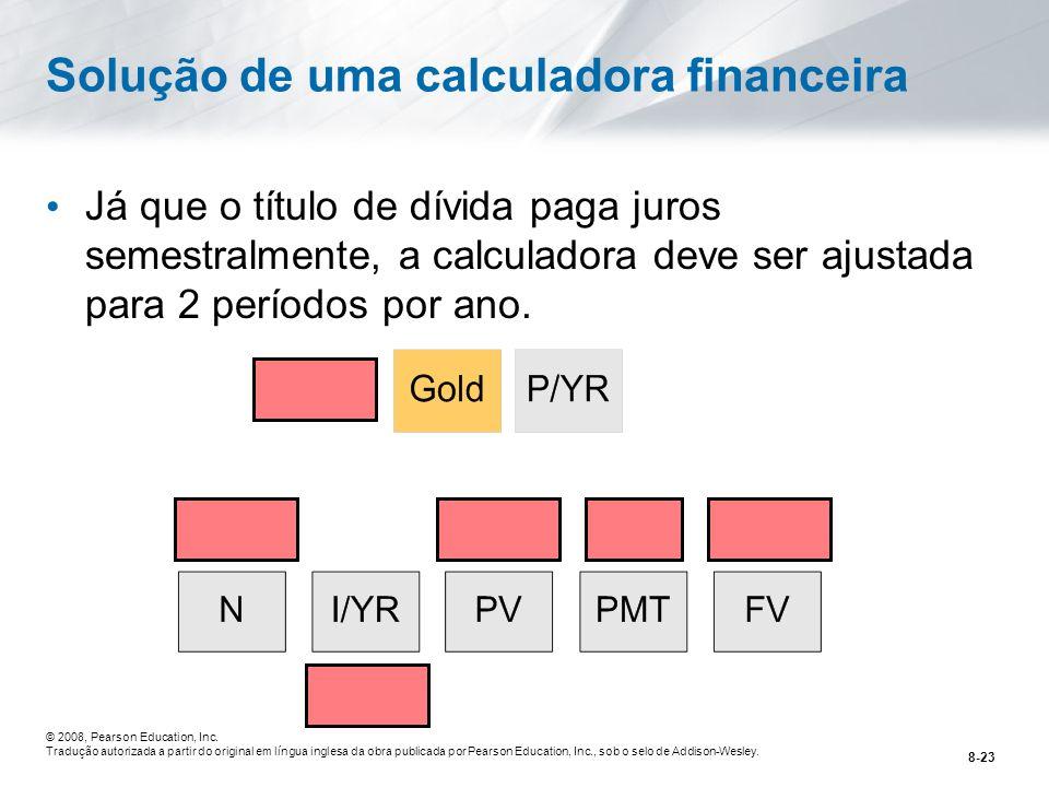 Solução de uma calculadora financeira