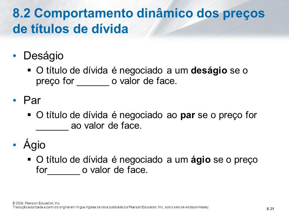 8.2 Comportamento dinâmico dos preços de títulos de dívida