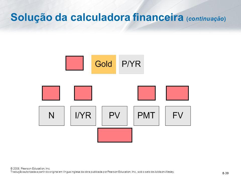 Solução da calculadora financeira (continuação)