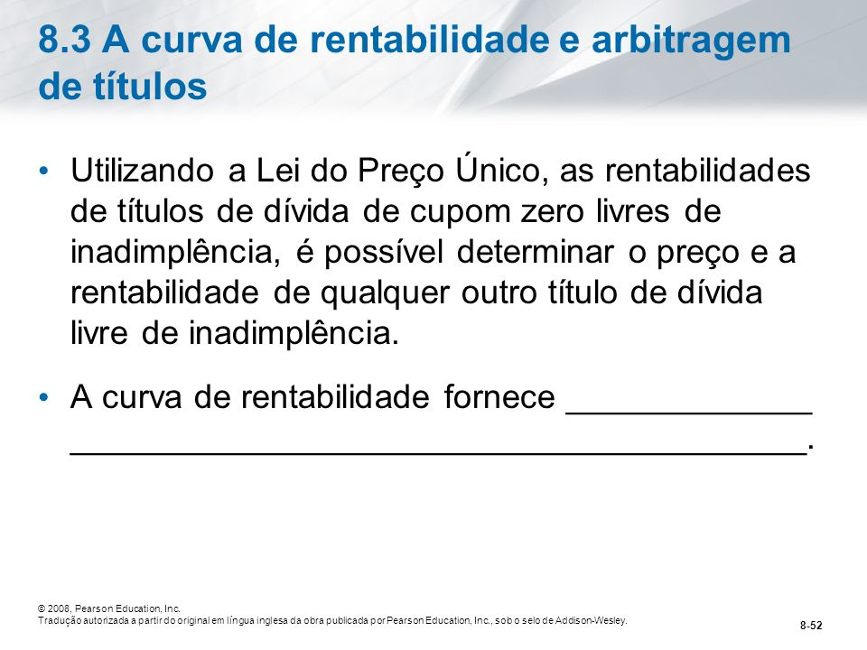 8.3 A curva de rentabilidade e arbitragem de títulos