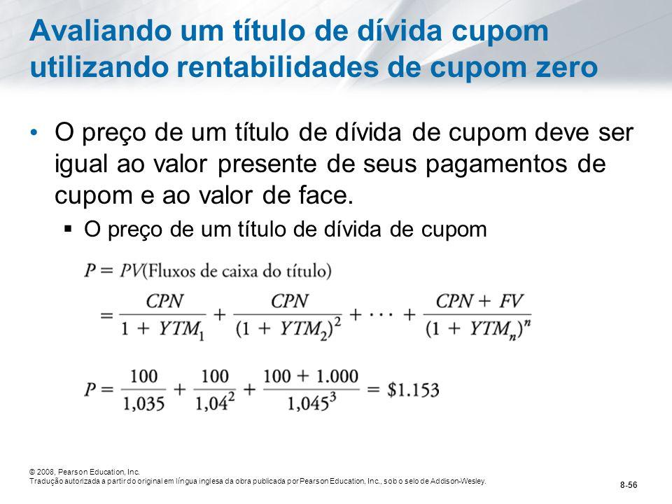 Avaliando um título de dívida cupom utilizando rentabilidades de cupom zero