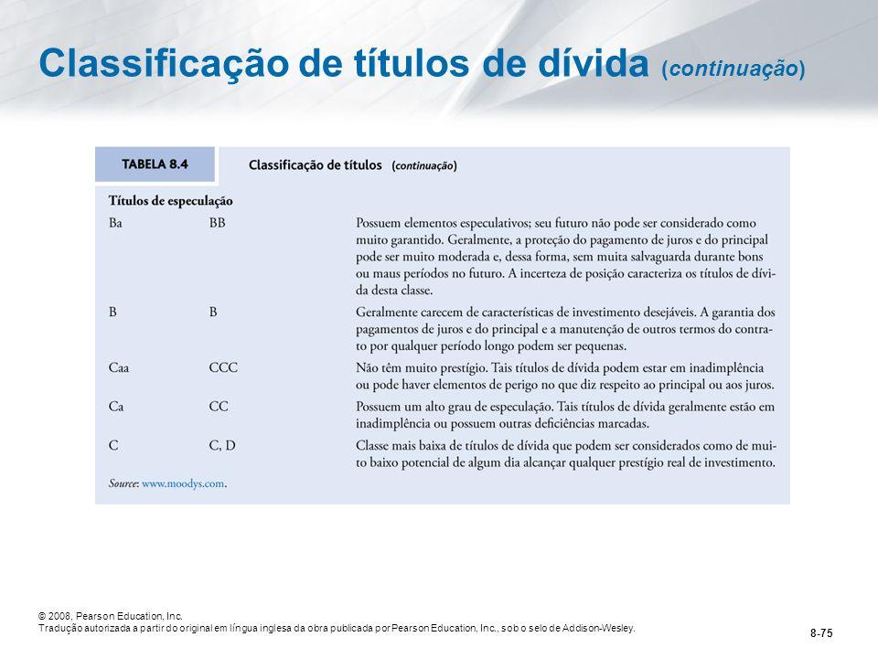 Classificação de títulos de dívida (continuação)