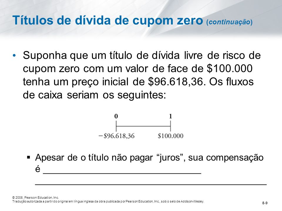 Títulos de dívida de cupom zero (continuação)