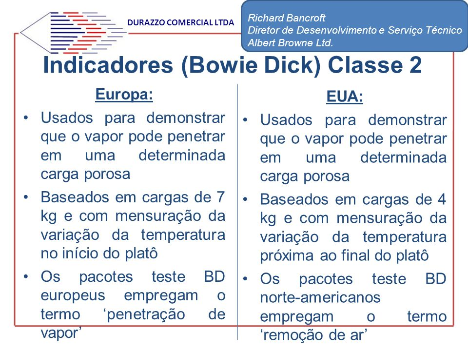 Indicadores (Bowie Dick) Classe 2