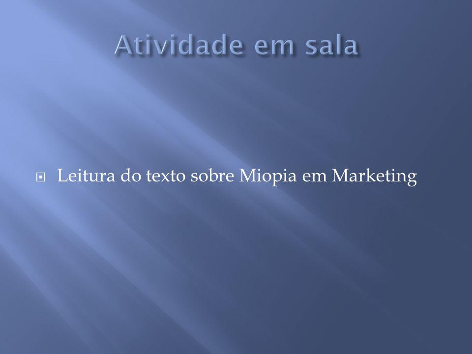 Atividade em sala Leitura do texto sobre Miopia em Marketing