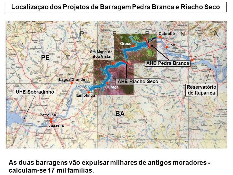 Localização dos Projetos de Barragem Pedra Branca e Riacho Seco