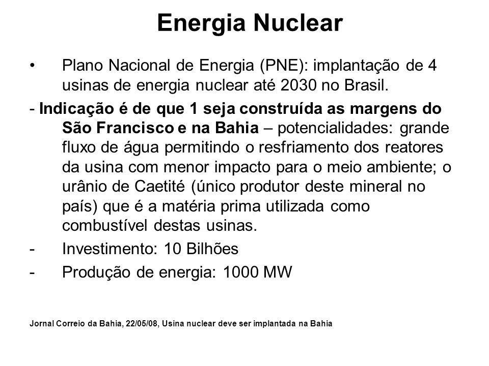 Energia Nuclear Plano Nacional de Energia (PNE): implantação de 4 usinas de energia nuclear até 2030 no Brasil.