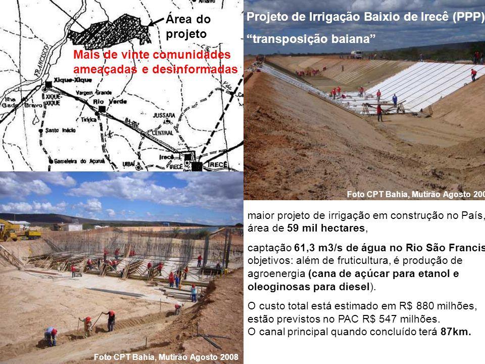 Projeto de Irrigação Baixio de Irecê (PPP) transposição baiana