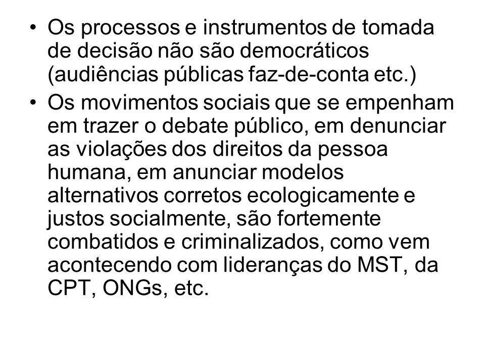 Os processos e instrumentos de tomada de decisão não são democráticos (audiências públicas faz-de-conta etc.)