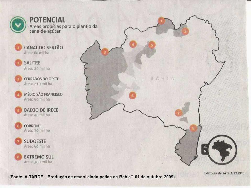 """(Fonte: A TARDE: """"Produção de etanol ainda patina na Bahia 01 de outubro 2009)"""