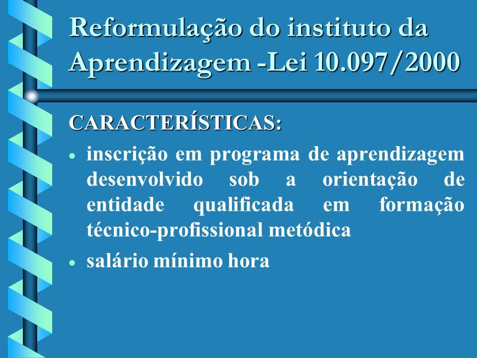 Reformulação do instituto da Aprendizagem -Lei 10.097/2000