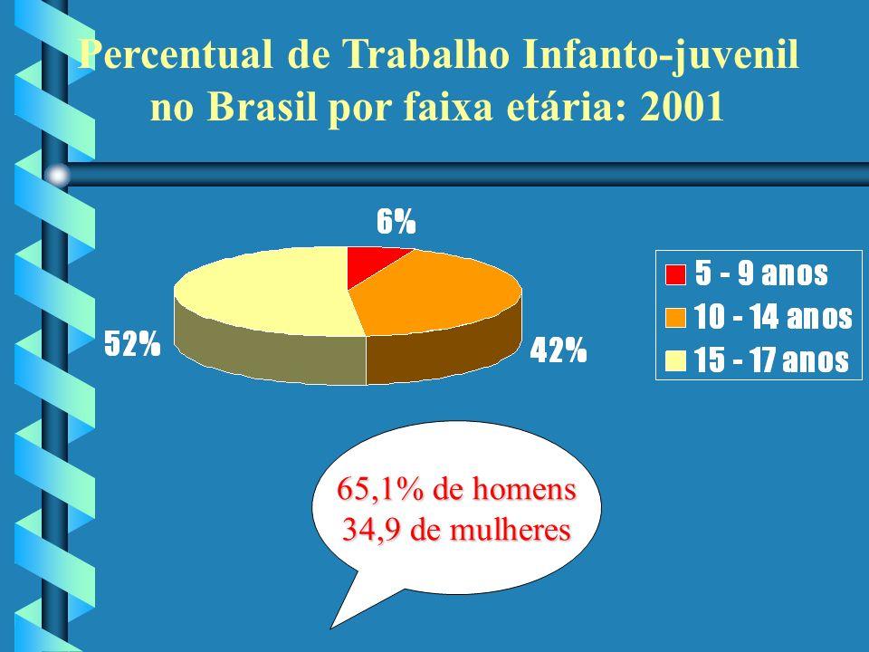 Percentual de Trabalho Infanto-juvenil no Brasil por faixa etária: 2001