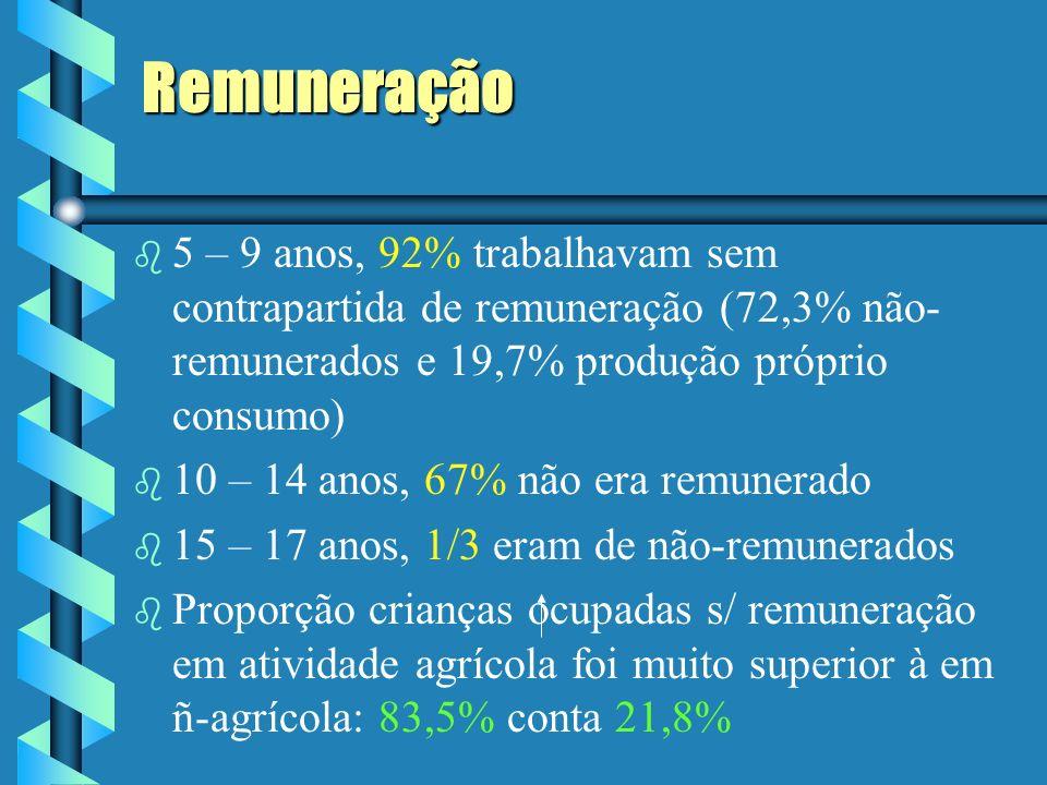 Remuneração 5 – 9 anos, 92% trabalhavam sem contrapartida de remuneração (72,3% não-remunerados e 19,7% produção próprio consumo)