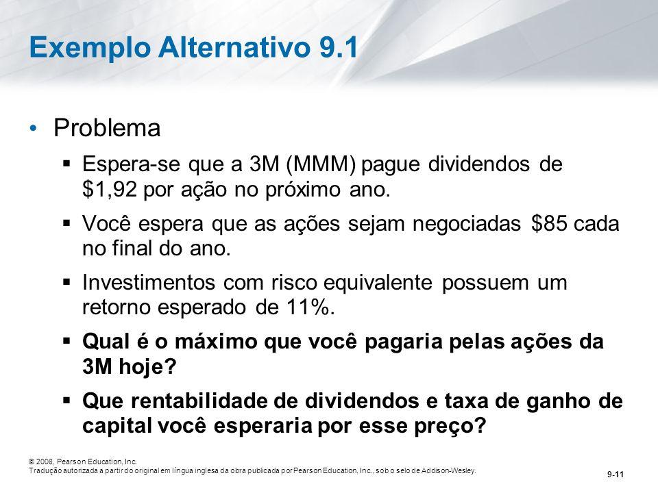 Exemplo Alternativo 9.1 Problema