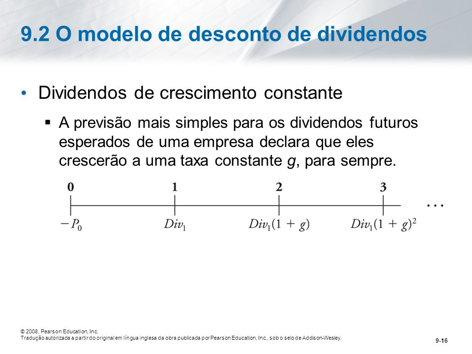 9.2 O modelo de desconto de dividendos