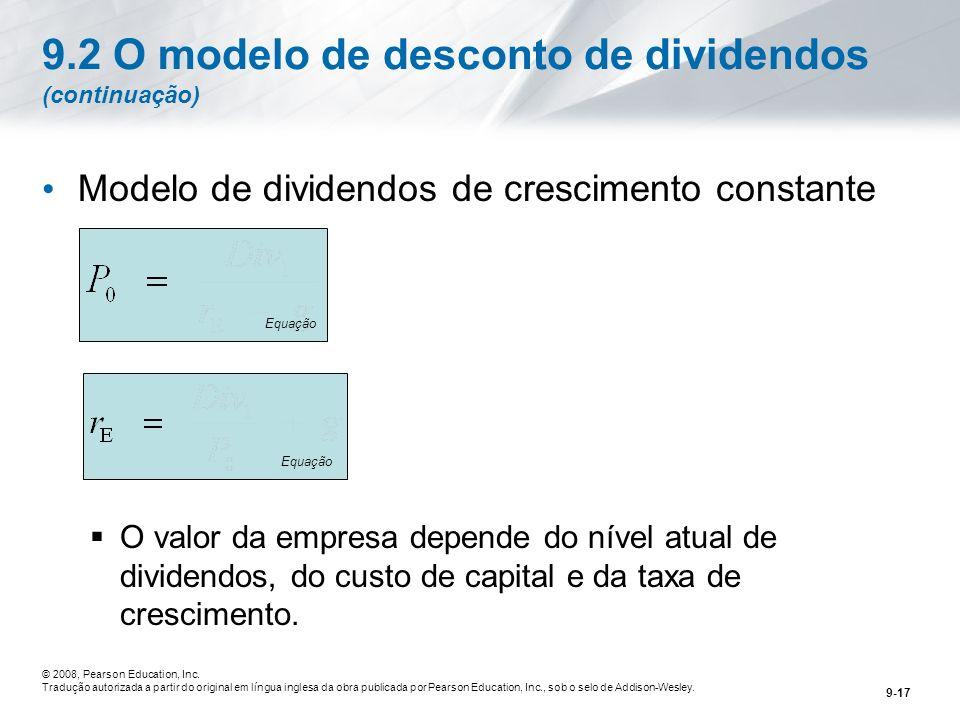 9.2 O modelo de desconto de dividendos (continuação)