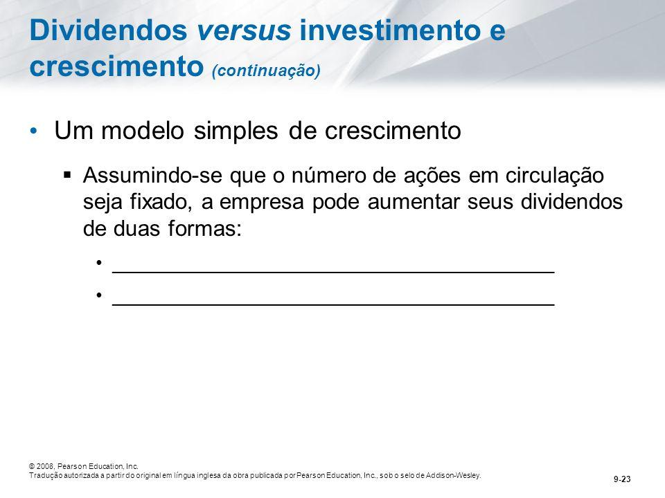 Dividendos versus investimento e crescimento (continuação)