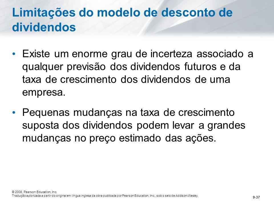 Limitações do modelo de desconto de dividendos