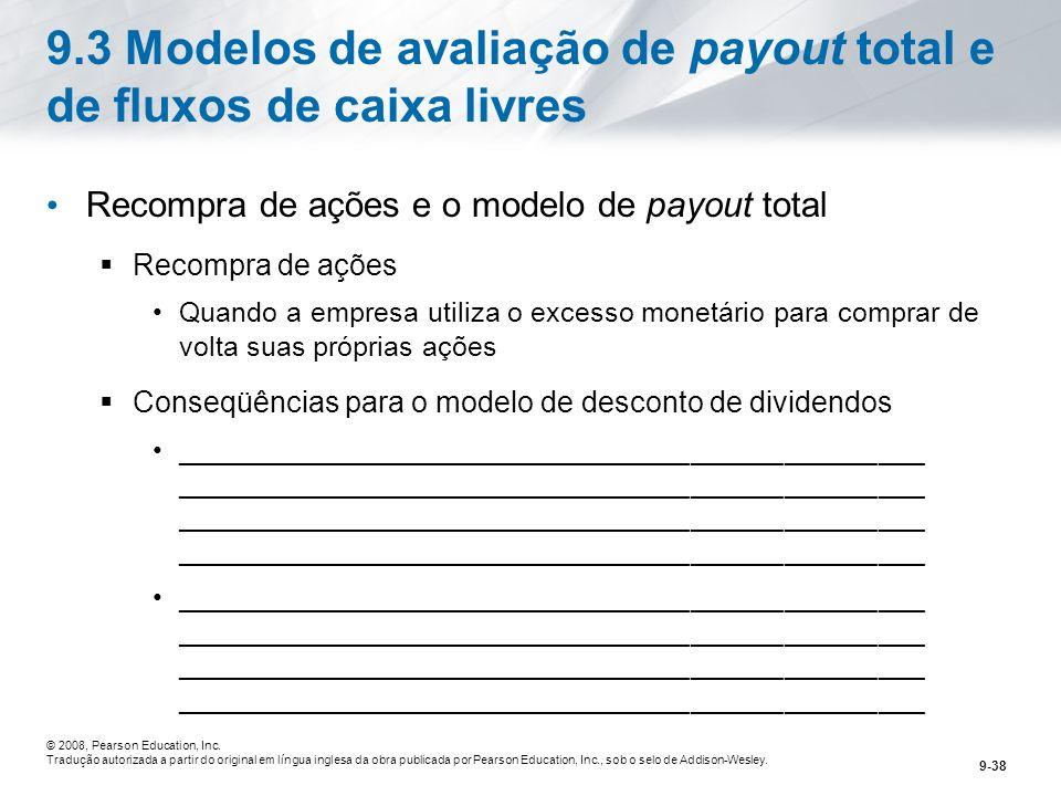 9.3 Modelos de avaliação de payout total e de fluxos de caixa livres
