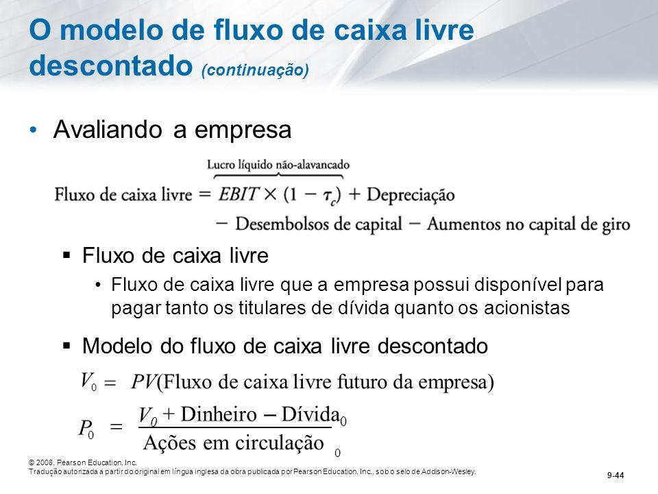 O modelo de fluxo de caixa livre descontado (continuação)