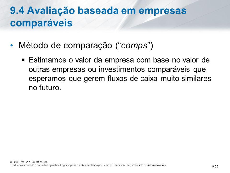 9.4 Avaliação baseada em empresas comparáveis