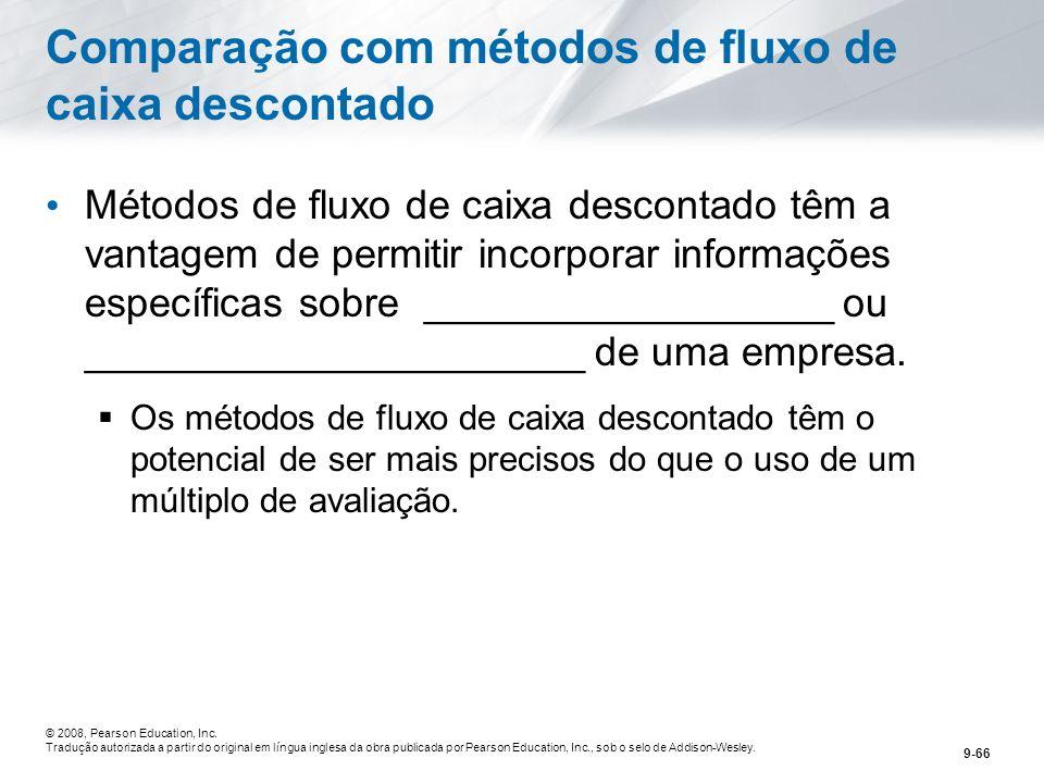 Comparação com métodos de fluxo de caixa descontado