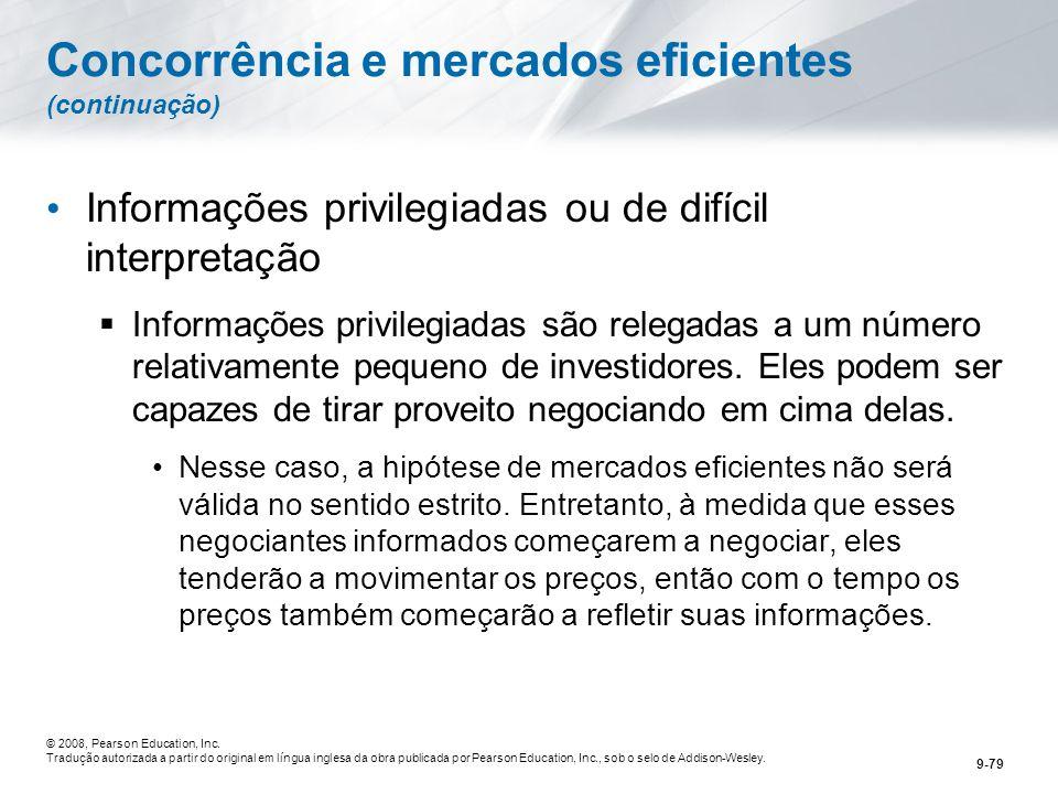 Concorrência e mercados eficientes (continuação)