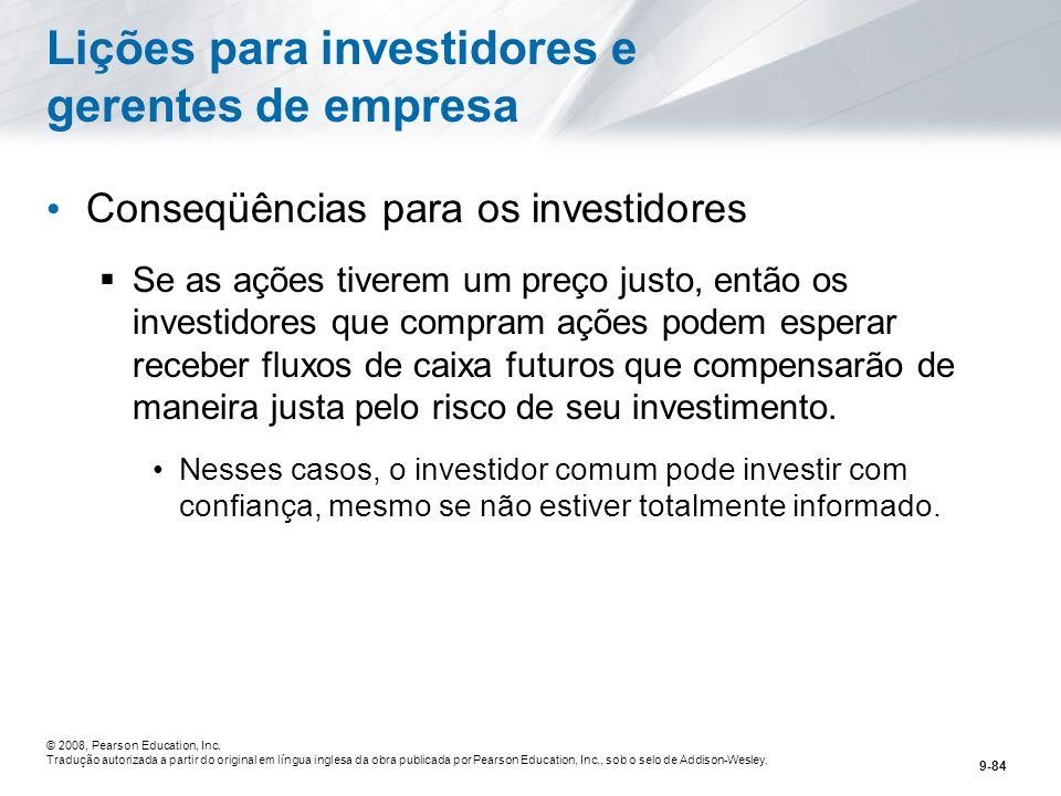 Lições para investidores e gerentes de empresa