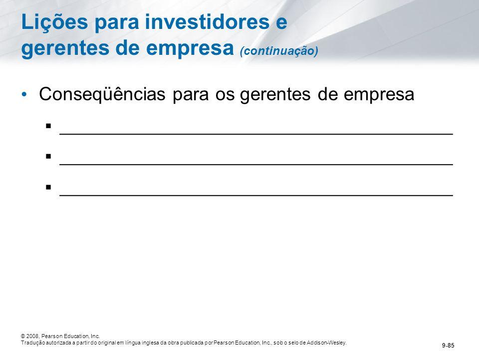 Lições para investidores e gerentes de empresa (continuação)