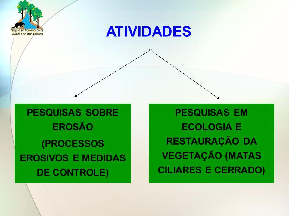 PESQUISAS SOBRE EROSÃO (PROCESSOS EROSIVOS E MEDIDAS DE CONTROLE)