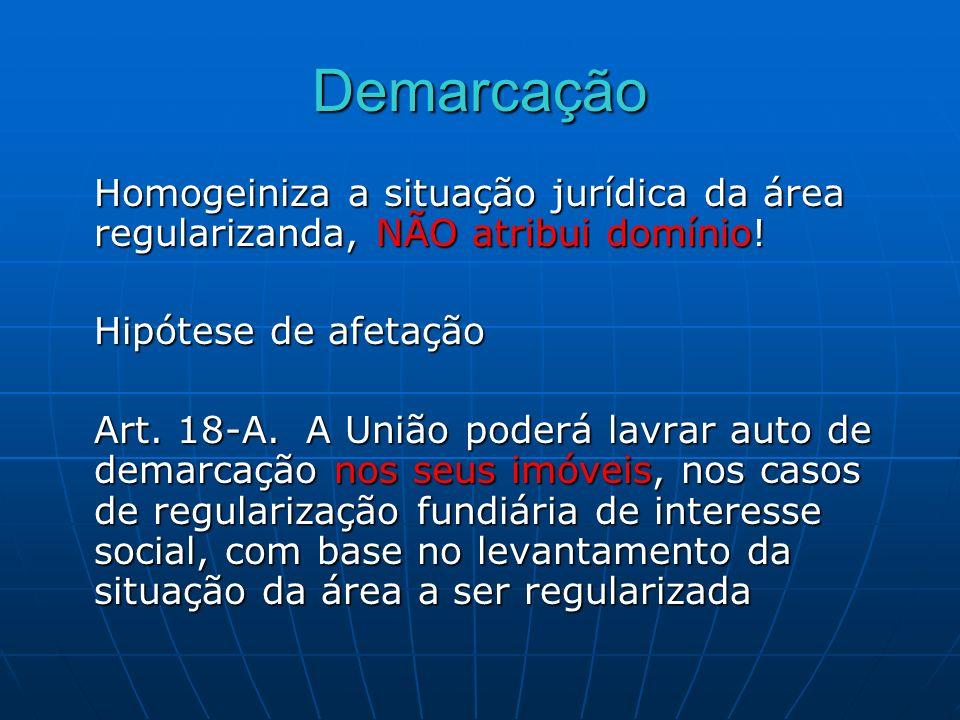DemarcaçãoHomogeiniza a situação jurídica da área regularizanda, NÃO atribui domínio! Hipótese de afetação.