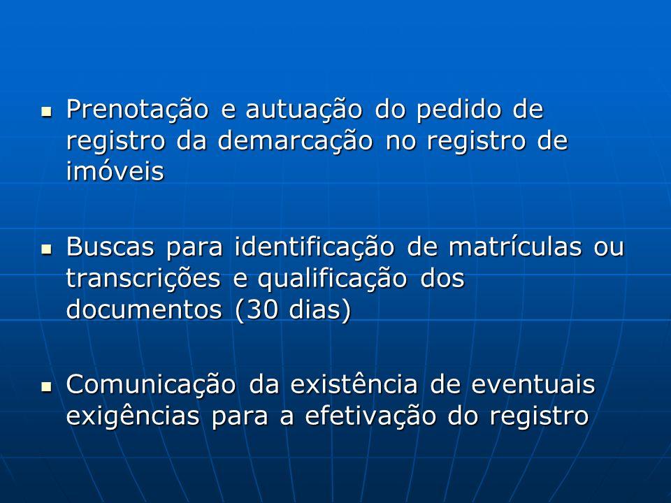 Prenotação e autuação do pedido de registro da demarcação no registro de imóveis