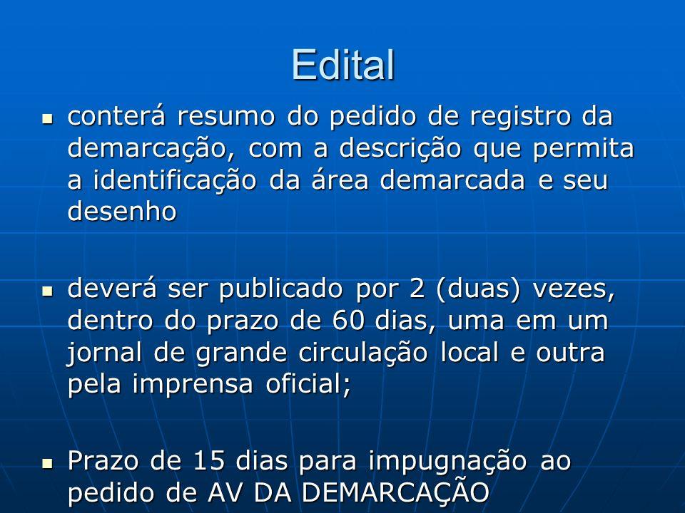 Edital conterá resumo do pedido de registro da demarcação, com a descrição que permita a identificação da área demarcada e seu desenho.