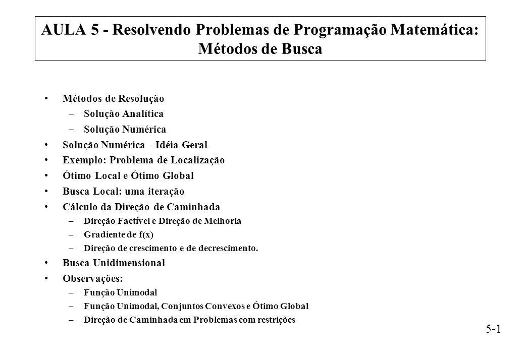 AULA 5 - Resolvendo Problemas de Programação Matemática: Métodos de Busca
