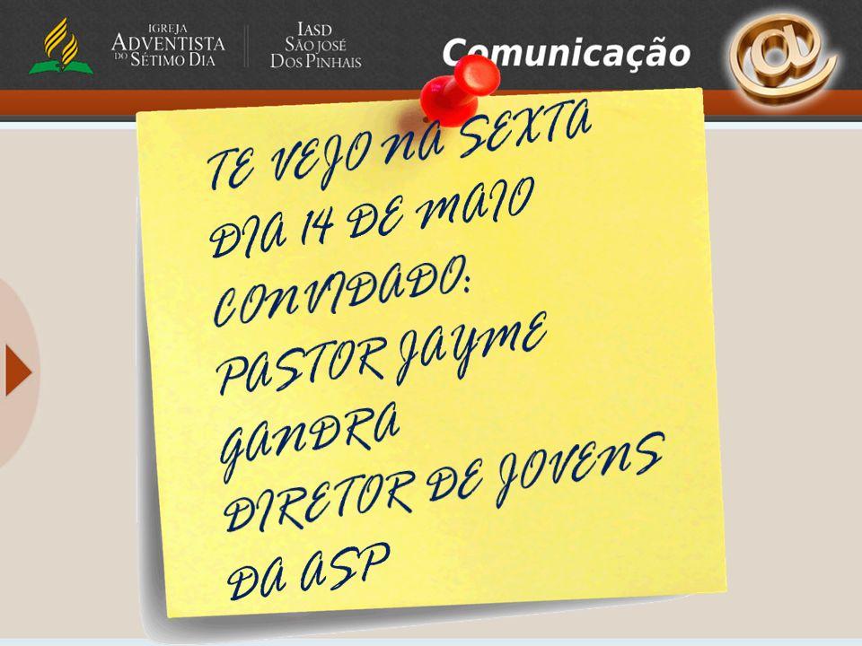 TE VEJO NA SEXTA DIA 14 DE MAIO CONVIDADO: PASTOR JAYME GANDRA DIRETOR DE JOVENS DA ASP