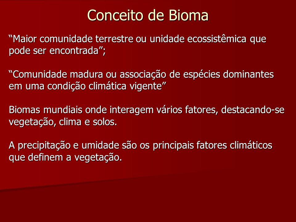 Conceito de Bioma Maior comunidade terrestre ou unidade ecossistêmica que pode ser encontrada ;